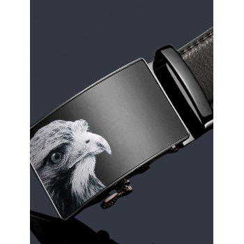 3D Eagle Decorated Faux Leather Automatic Buckle Wide Belt - BLACK 115CM