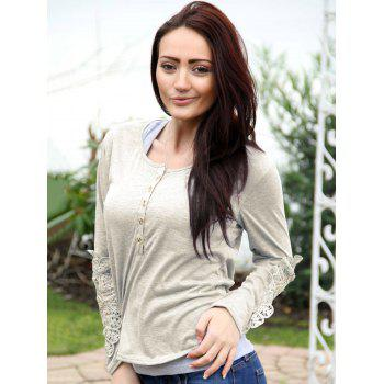 Casual Lace Splicing Scoop Neck Long Sleeve T-Shirt For Women - OFF WHITE XL