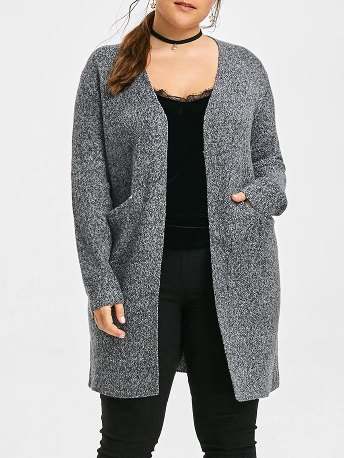 Rooo Patterned Plus Size Knit Long Cardigan - DARK GRAY 4XL