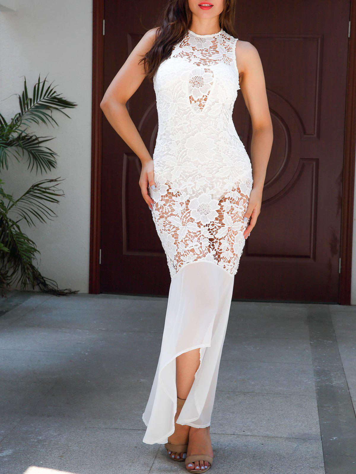 Sleeveless Sheer Lace Bodycon Maxi Dress - WHITE XL
