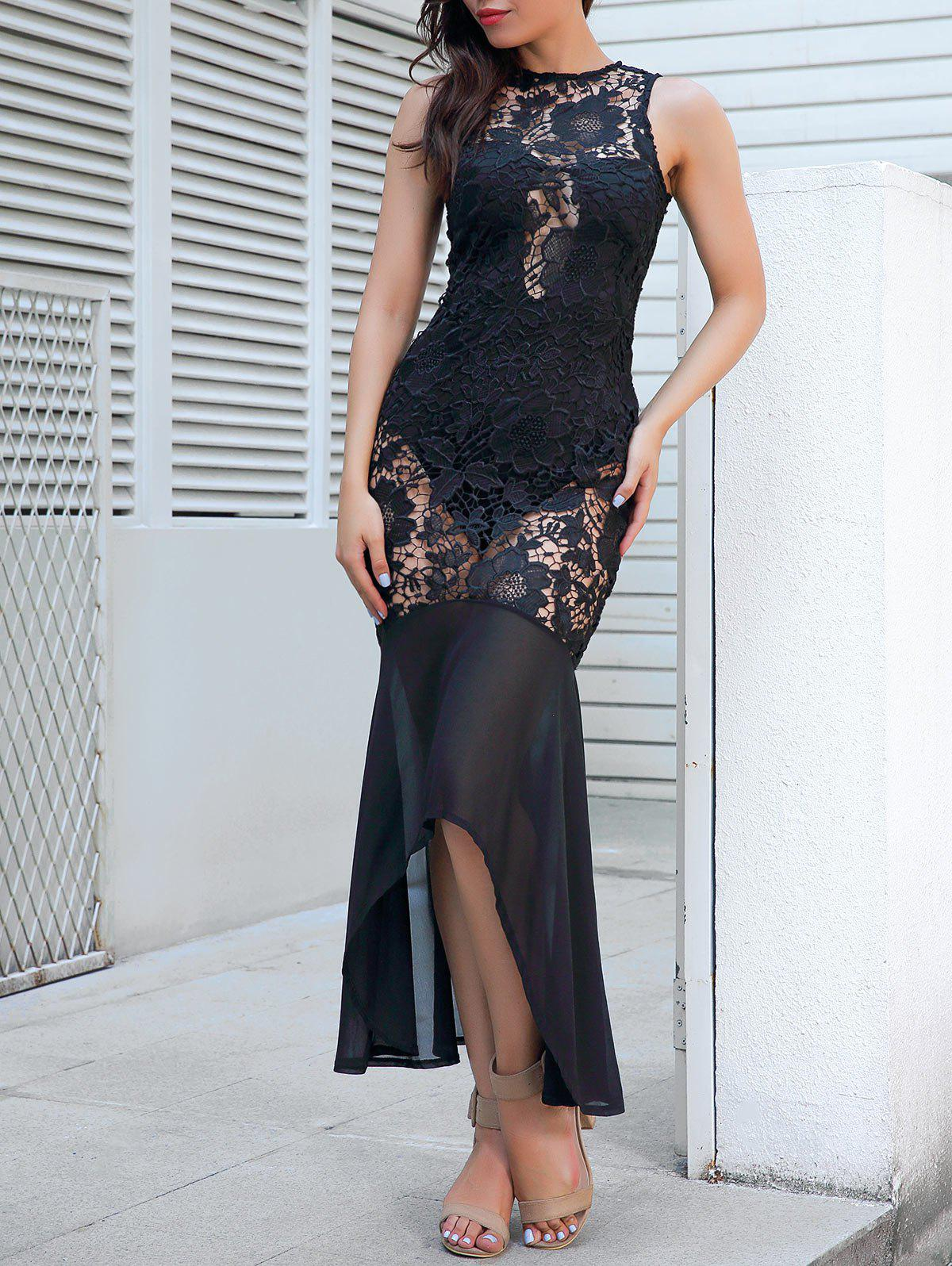 Sleeveless Sheer Lace Bodycon Maxi Dress - BLACK M