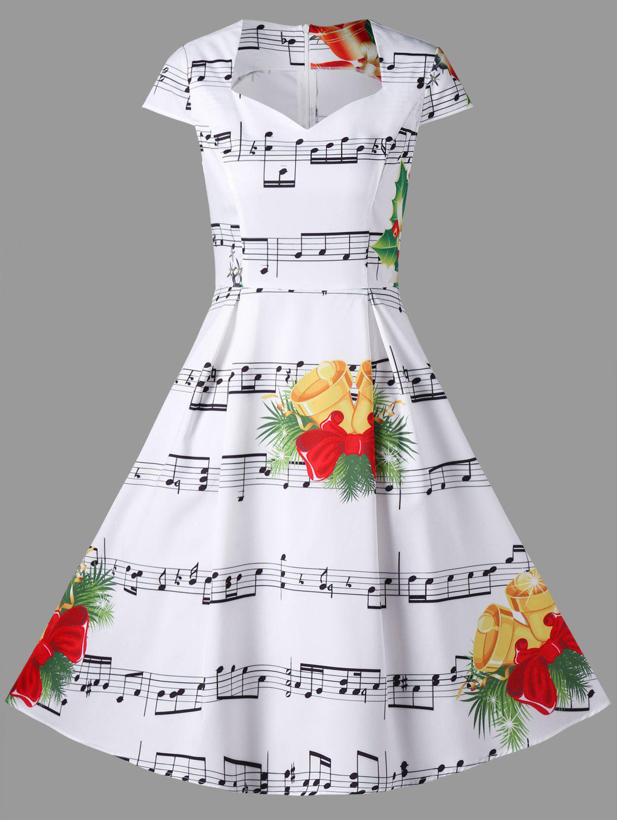 Christmas Bell and Music Note Print Dress music note party swing dress