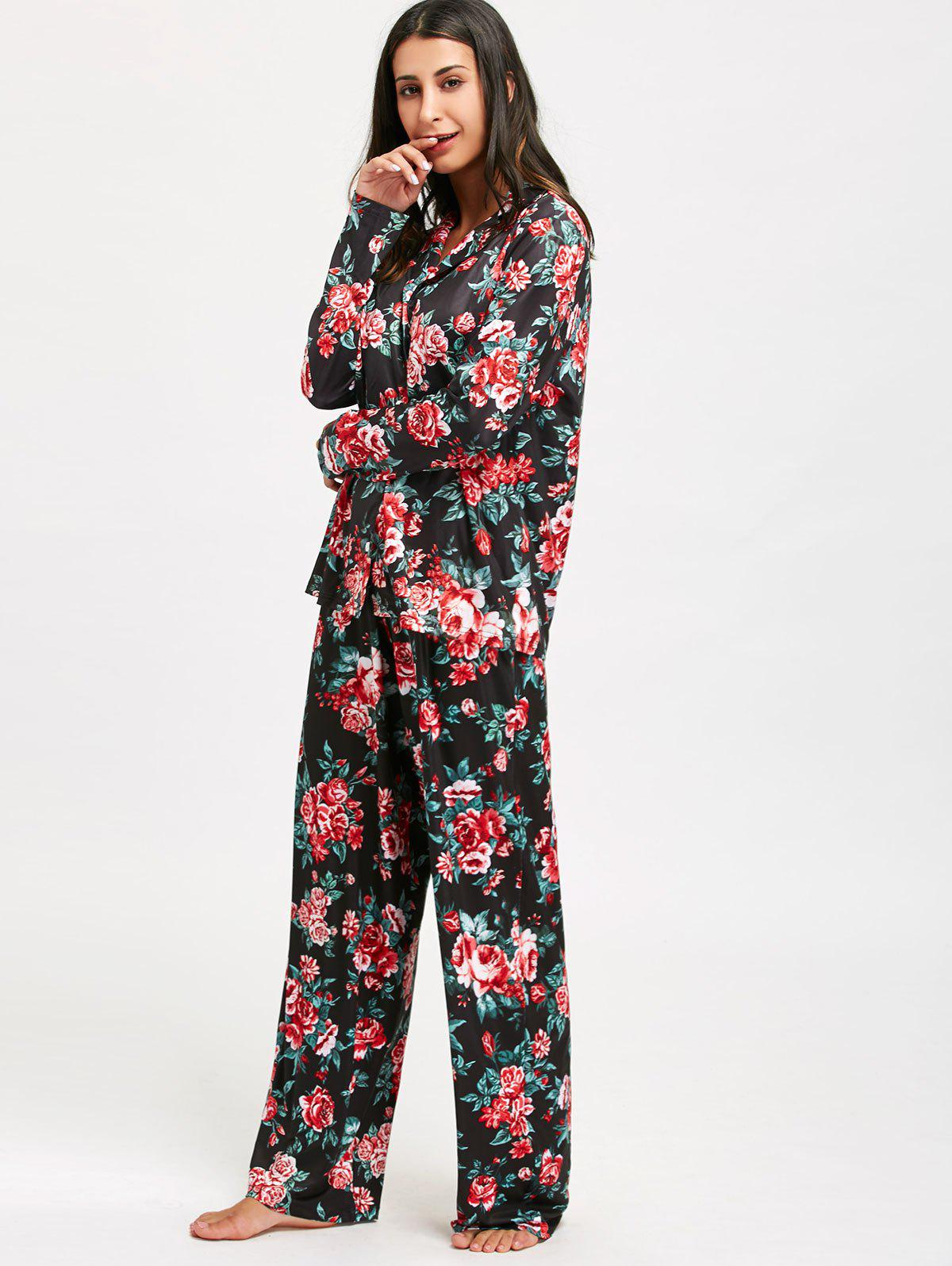 Floral Printed Long Sleeve Pajama Set - COLORMIX 2XL