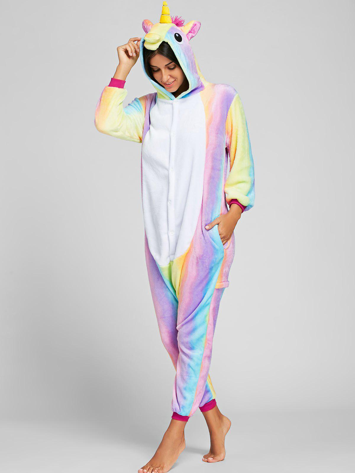 Mignon Pyjama Onesie Animal Pégase pour Adulte - Rose / arc en ciel XL