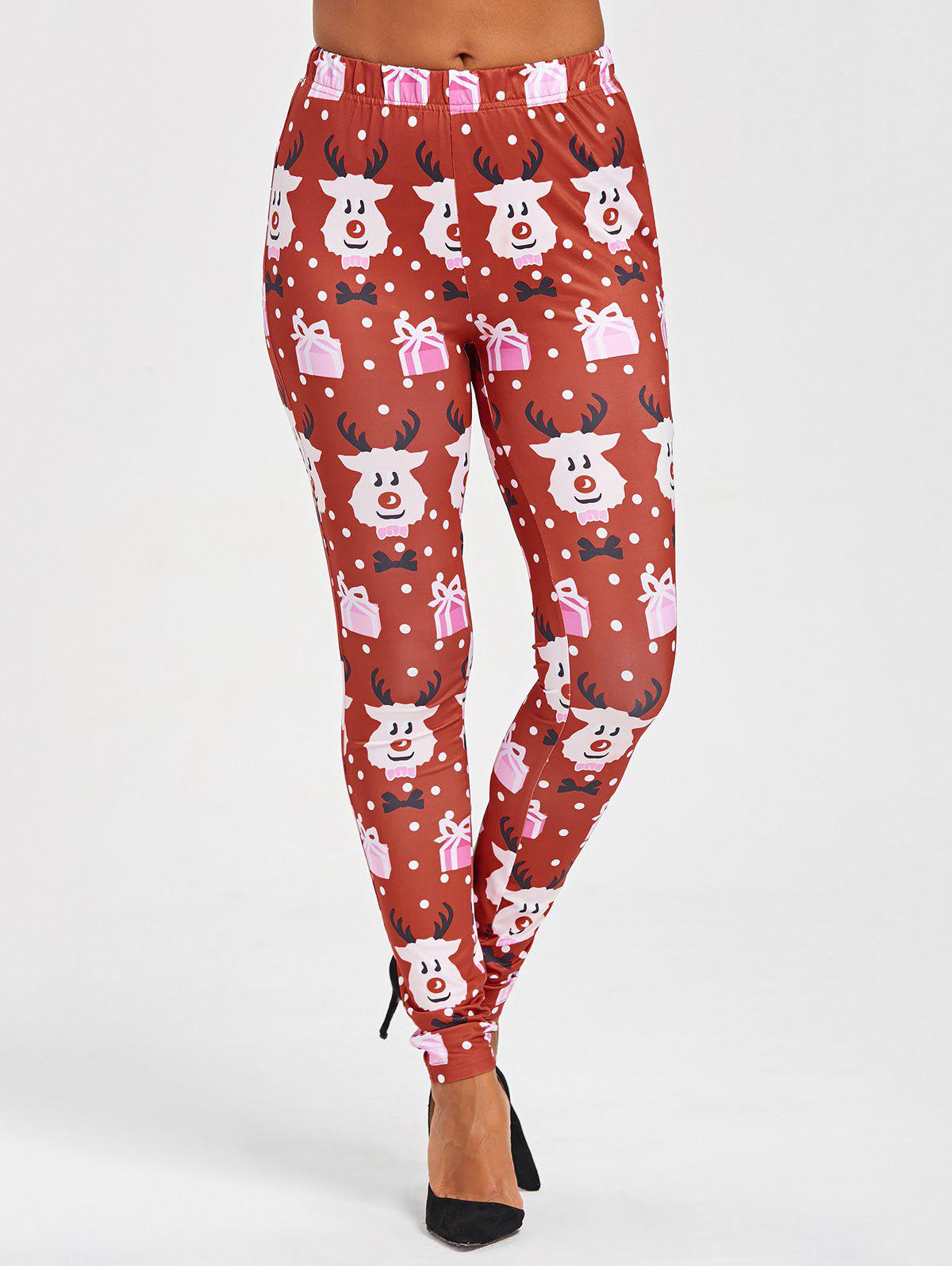 Christmas Cartoon Print Leggings - COLORMIX XL