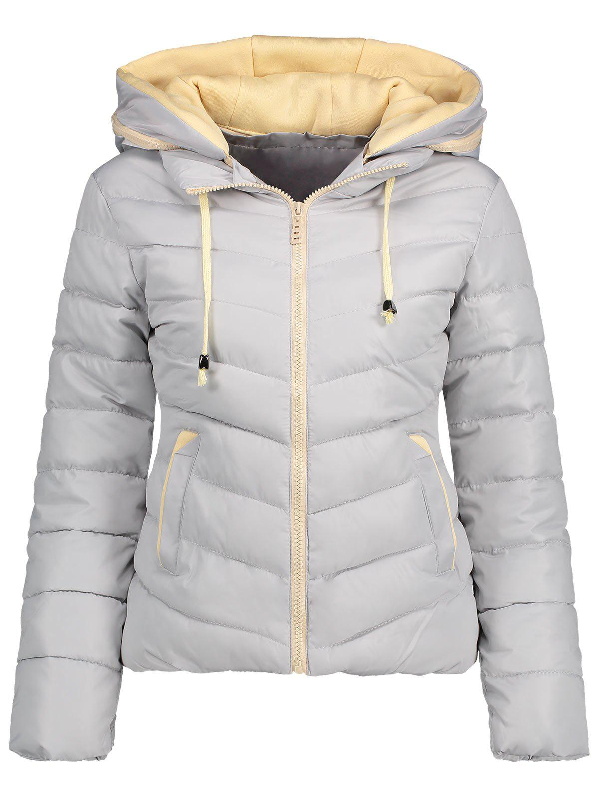 Hooded Drawstring Quilted Jacket - GRAY 2XL