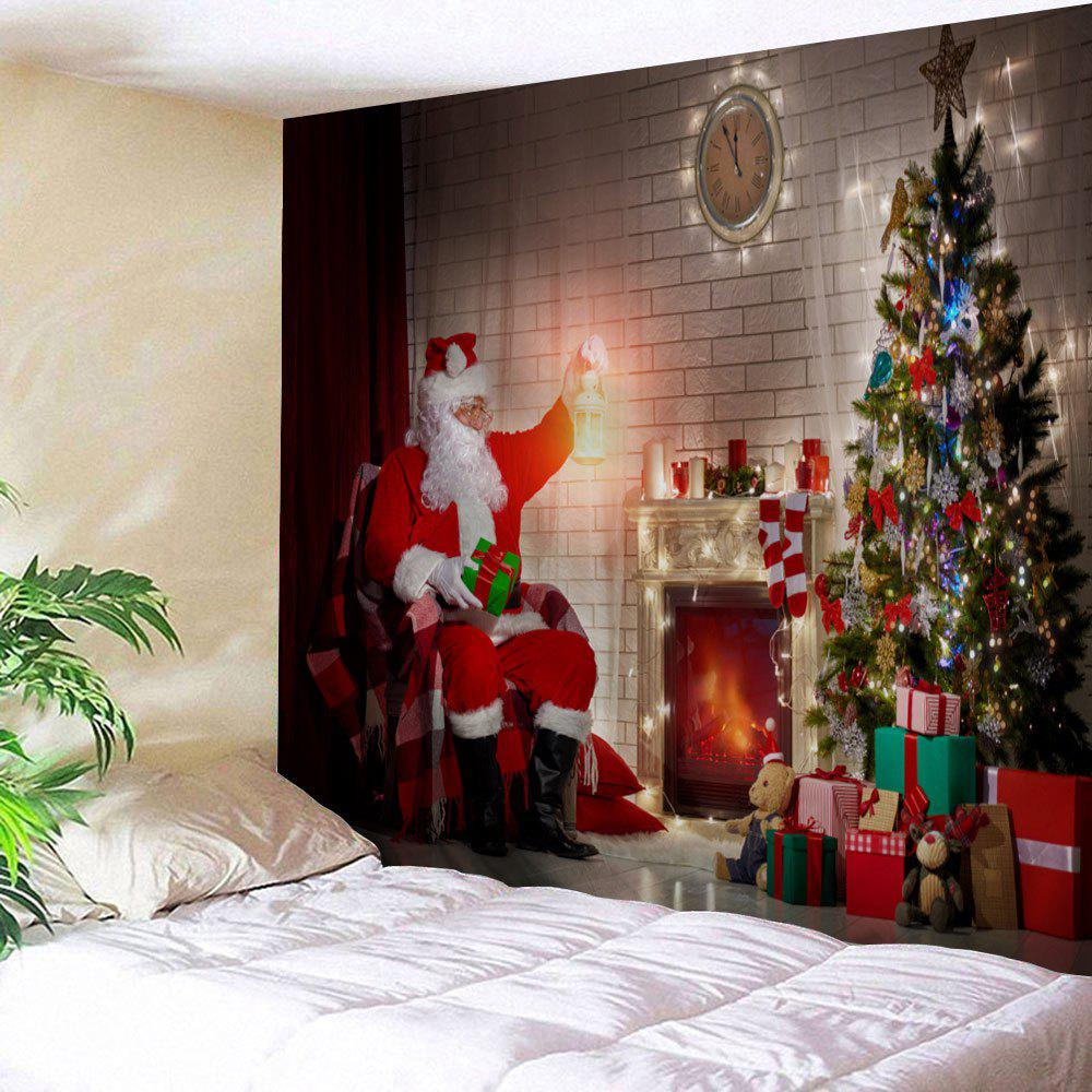 Christmas Fireplace Tree Santa Claus Print Wall Art Tapestry santa claus christmas tree for window glass can diy wall sticker
