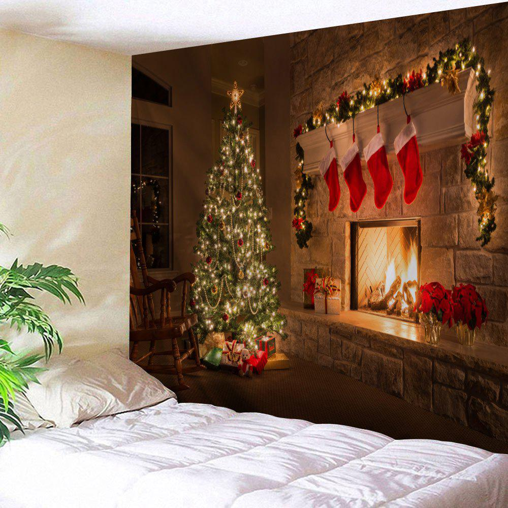 Wall Decor Christmas Fireplace Tree Printed Tapestry christmas tree photography background christmas lights fireplace wall decors backdrop xt 4525