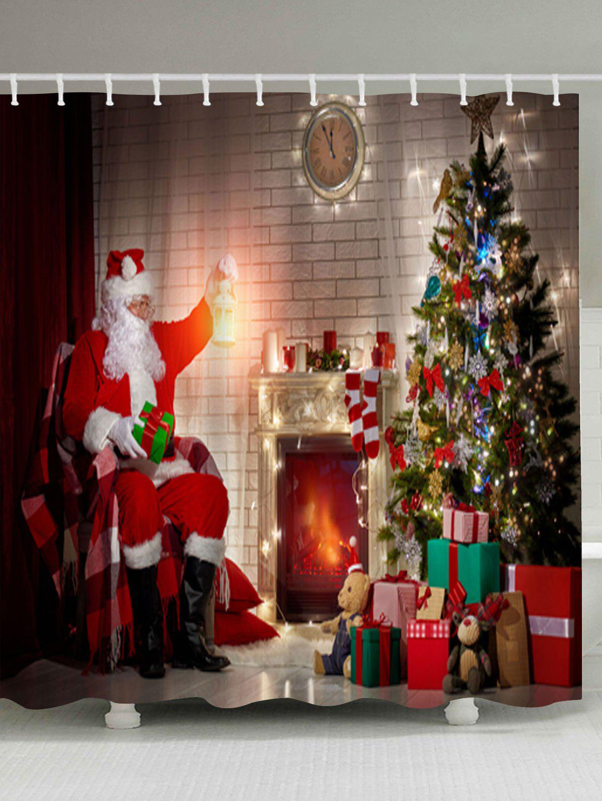 Christmas Fireplace Tree Santa Claus Waterproof Shower Curtain christmas tree letter print waterproof shower curtain