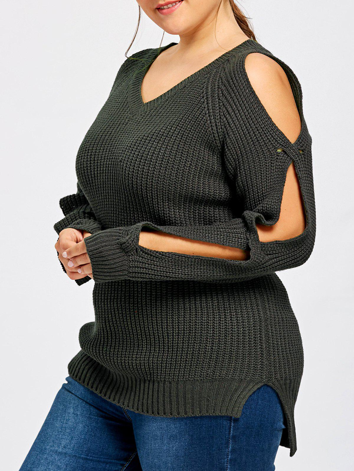 Plus Size V Neck Slit Sleeve Sweater - BLACK 3XL
