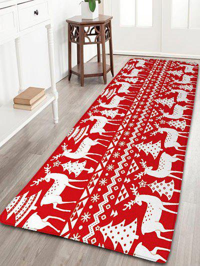 Christmas Tree Deer Print Flannel Nonslip Bath Rug   RED W24 INCH * L71 INCH