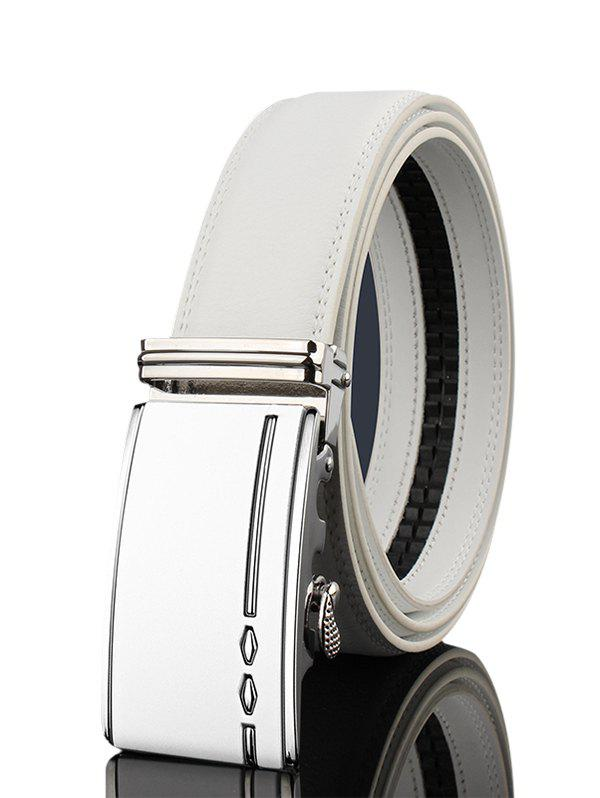 Metal Buckle Embellished Automatic Buckle Wide Belt - WHITE 120CM