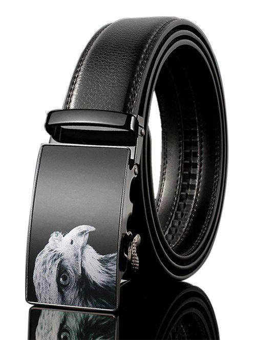 3D Eagle Decorated Faux Leather Automatic Buckle Wide Belt - BLACK 110CM