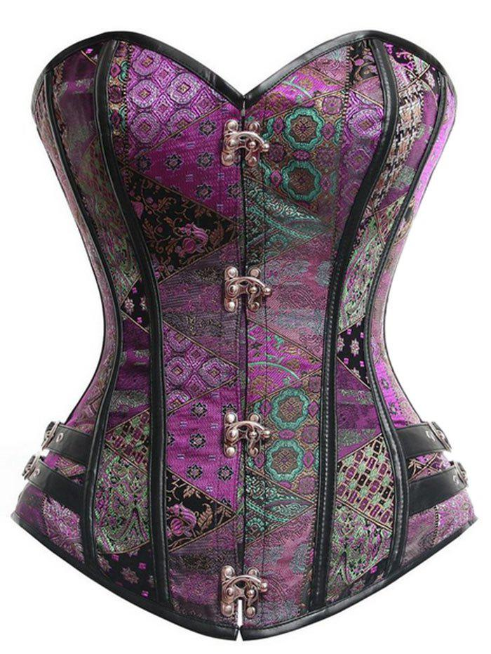 Brocade Vintage Lace-up Corset - PURPLE 2XL