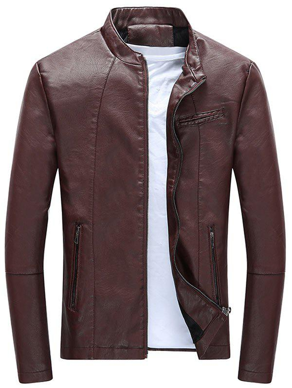 Full Zipper Casual PU Leather Jacket - WINE RED 3XL