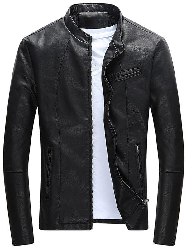 Full Zipper Casual PU Leather Jacket - BLACK 3XL