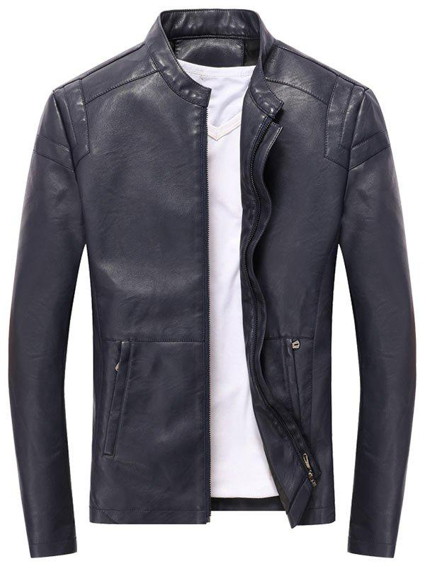 Stand Collar Full Zipper PU Leather Jacket - DEEP BLUE L