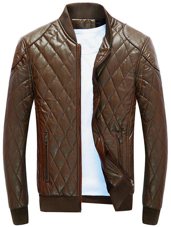 Casual Diamond Pattern Faux Leather Bomber Jacket - BROWN XL