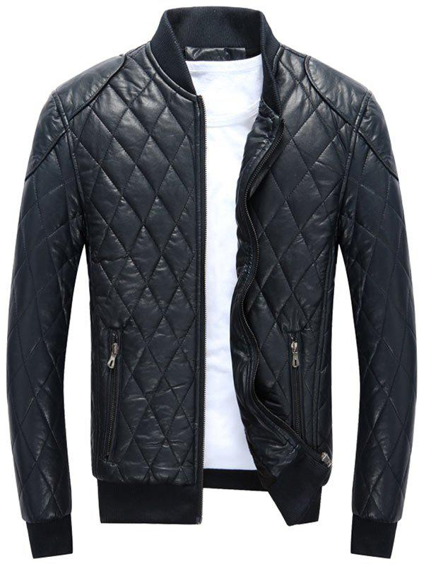 Casual Diamond Pattern Faux Leather Bomber Jacket - BLUE L