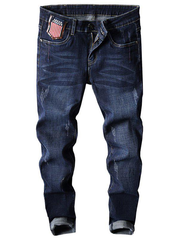 Tapered Fit Star and Stripe Embroidery Jeans