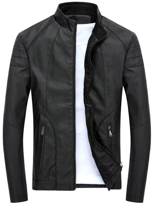 Full Zipper Stand Collar PU Leather Jacket - BLACK M