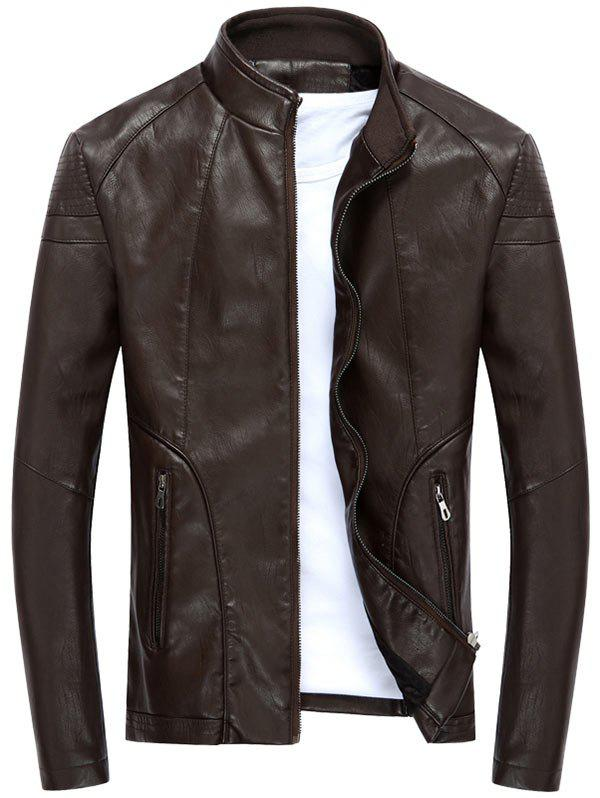 Full Zipper Stand Collar PU Leather Jacket - DEEP BROWN M