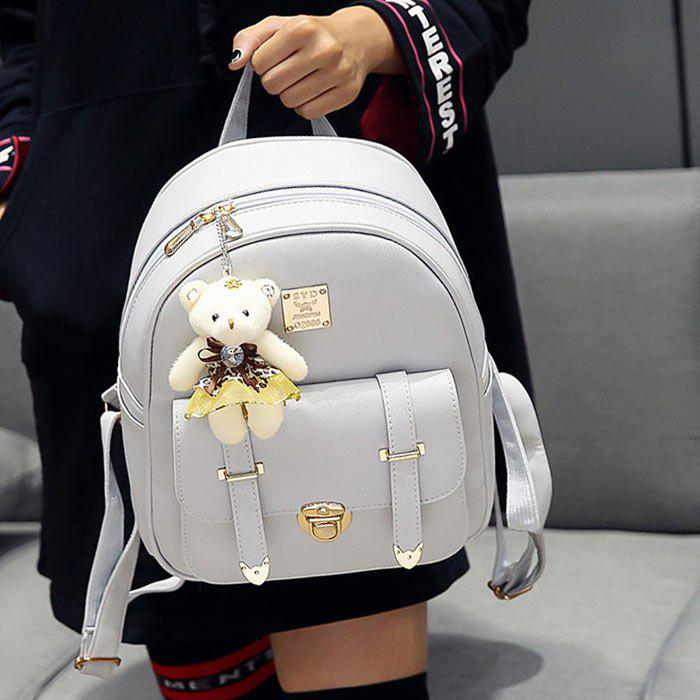 Metal Bow 3 Pieces Backpack Set - GRAY