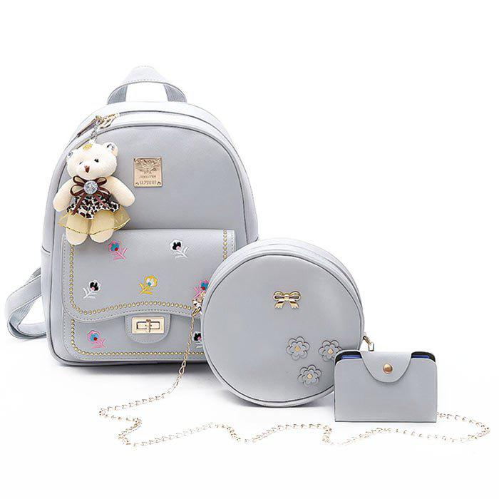 3 Pieces Floral Print Backpack Set - GRAY