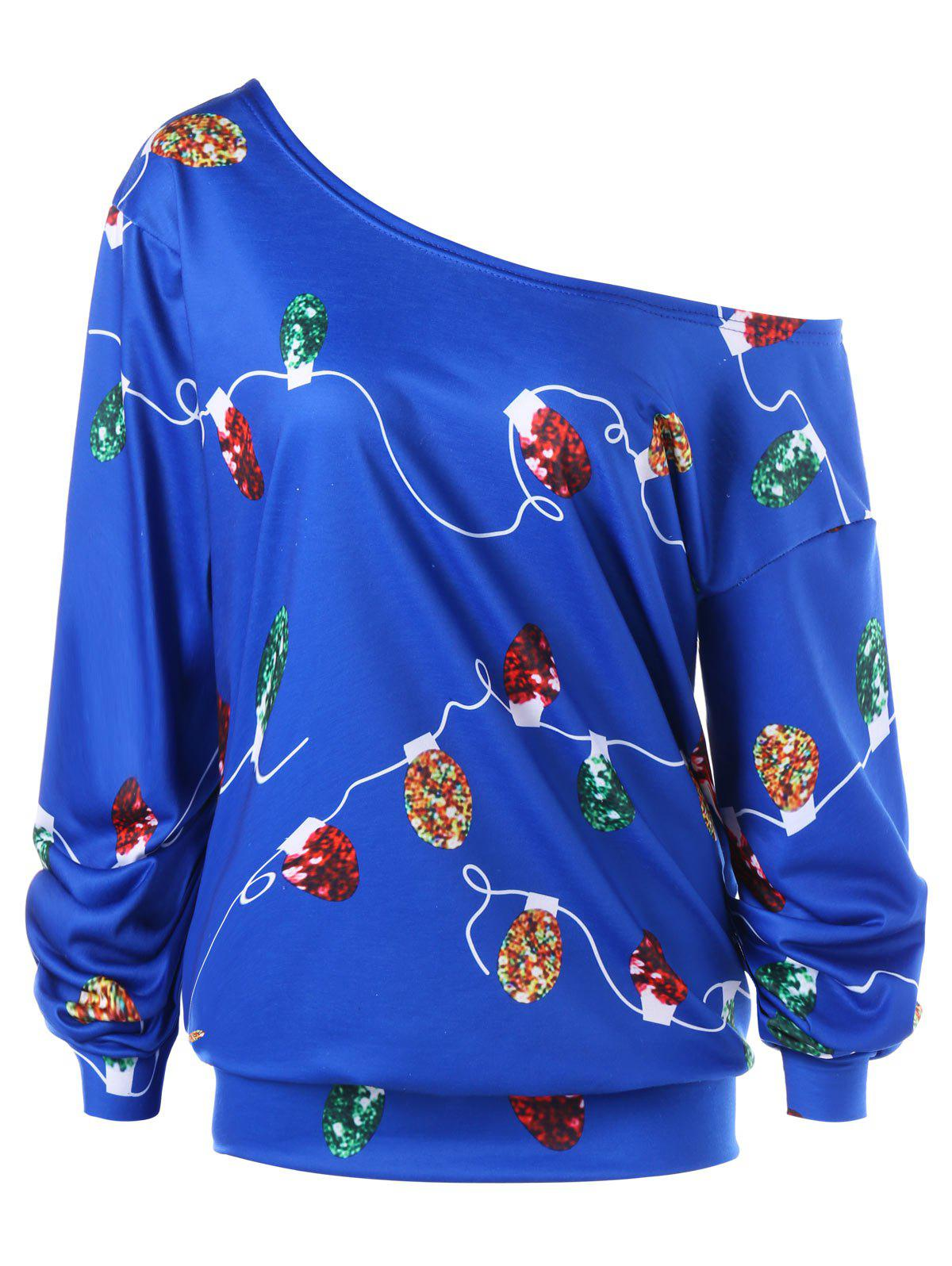 Plus Size Christmas String Light Skew Collar Sweatshirt plus size christmas reindeer skew collar sweatshirt