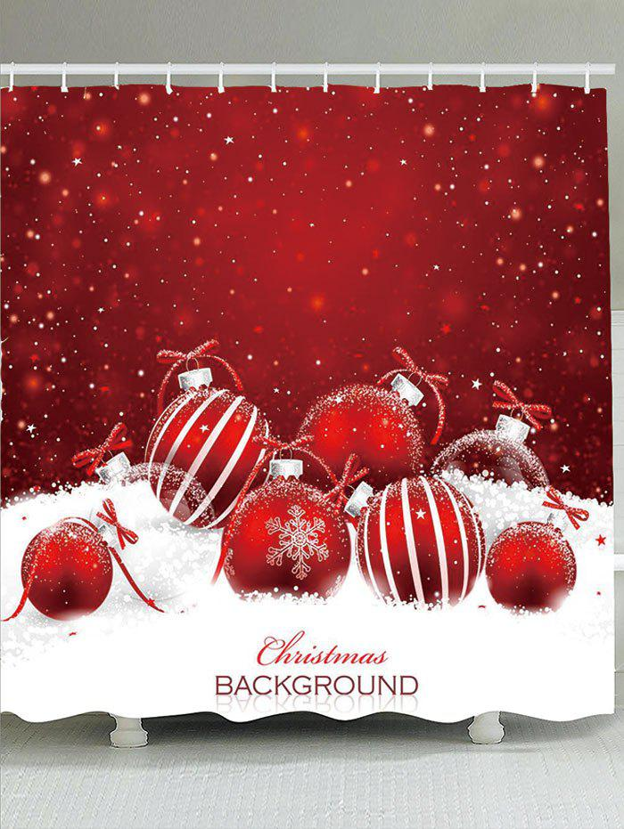 Waterproof Snow and Christmas Baubles Pattern Shower Curtain snow and santa claus printed waterproof shower curtain