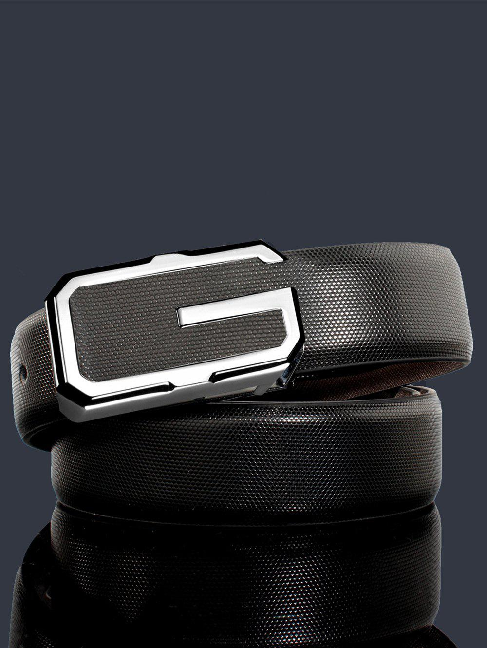 3D G Shape Metal Buckle Decorated Automatic Buckle Wide Belt - WHITE/BLACK/SILVER 110CM