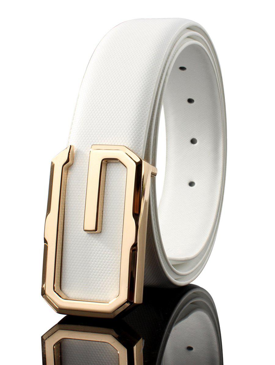 3D G Shape Metal Buckle Decorated Automatic Buckle Wide Belt - WHITE/GOLDEN 110CM