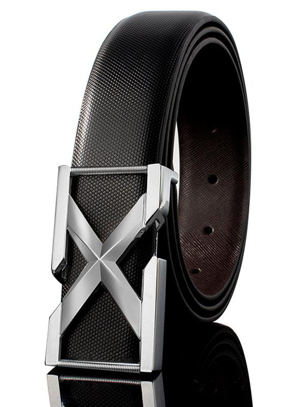 3D Letter Metal Buckle Embellished PU Leather Wide Belt - WHITE/BLACK/SILVER 110CM