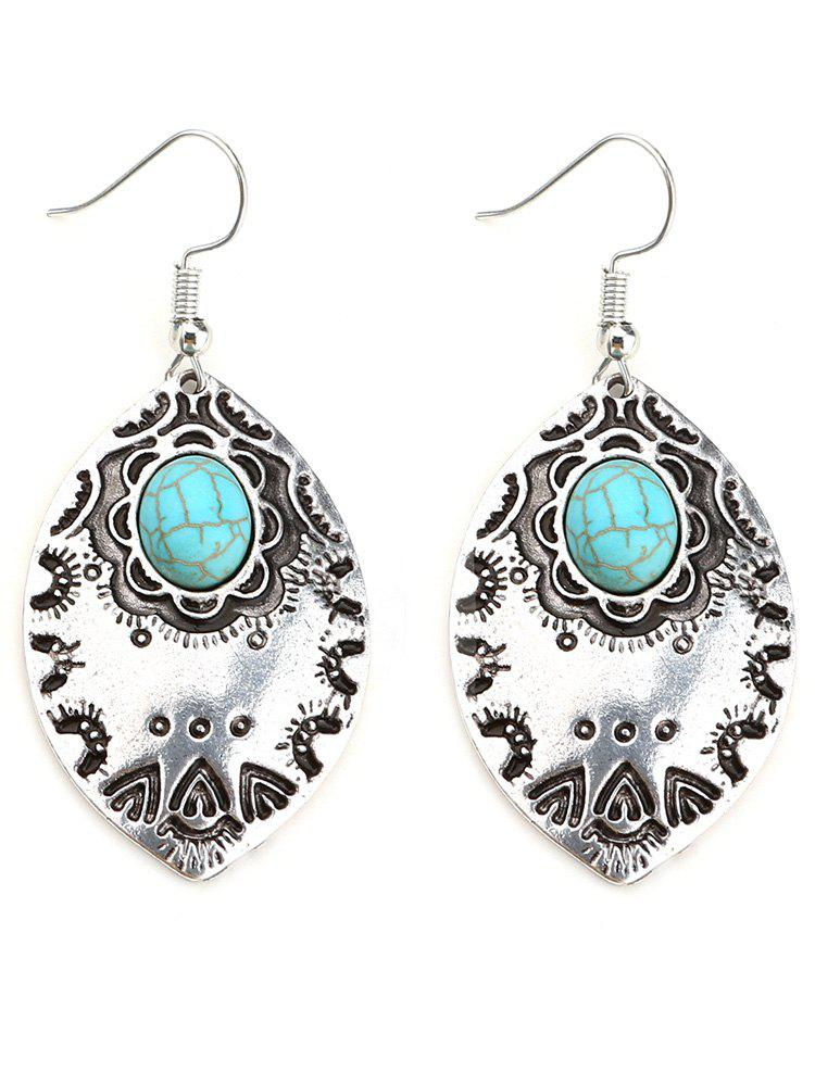 Bohemian Faux Turquoise Leaf Hook Earrings faux opal geometric earrings