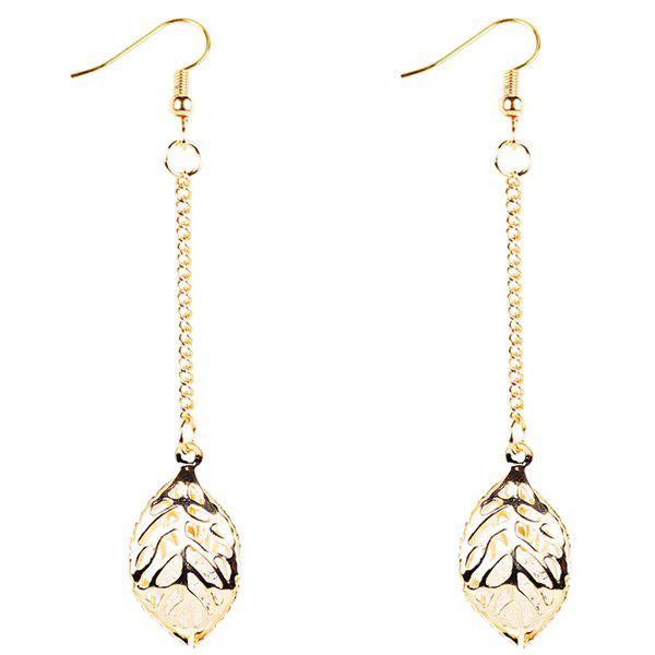 Vintage Alloy Chain Leaf Hook Earrings