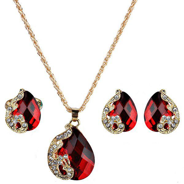 Faux Gem Teardrop Peacock Jewelry Set teardrop faux pearl jewelry set