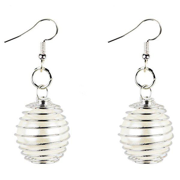 Faux Pearl Alloy Spiral Hook Drop Earrings