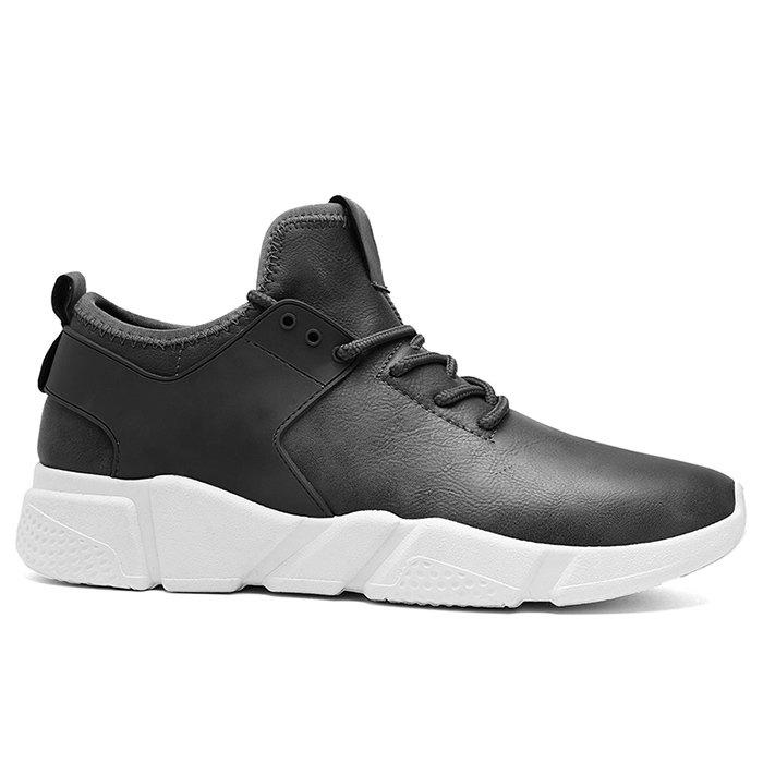 Tie Up Faux Leather Casual Shoes - GRAY 41
