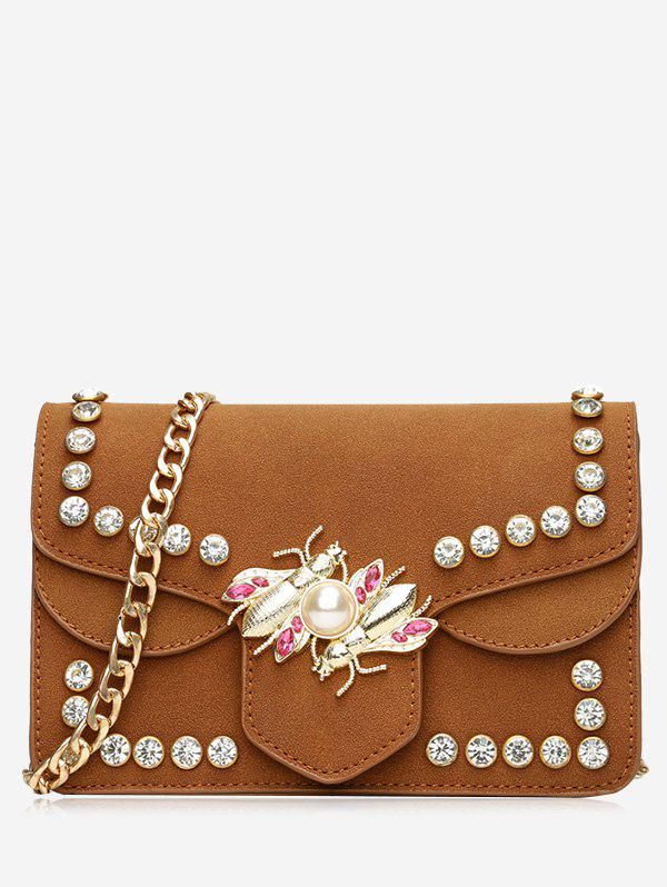Rhinestone Faux Pearl Insect Crossbody Bag - BROWN