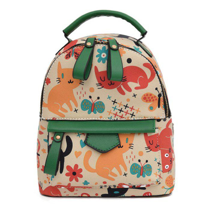 Color Block Cartoon Flower Print Backpack - BEIGE