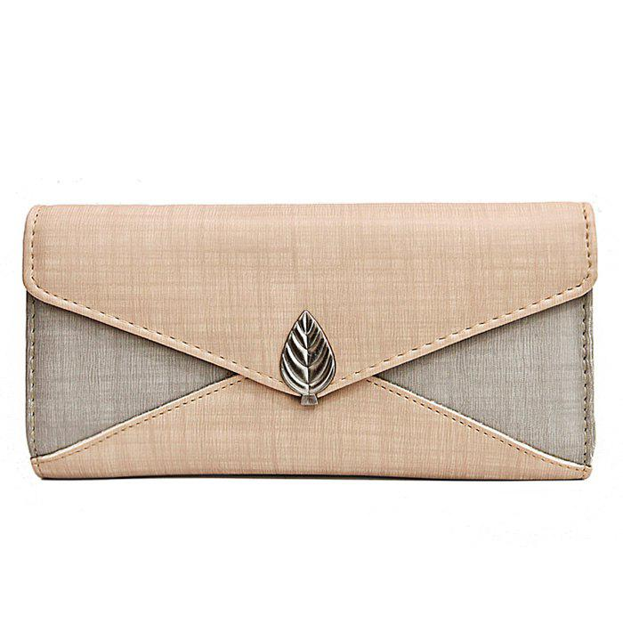 Metal Leaf Color Block Wallet With Chain - BEIGE