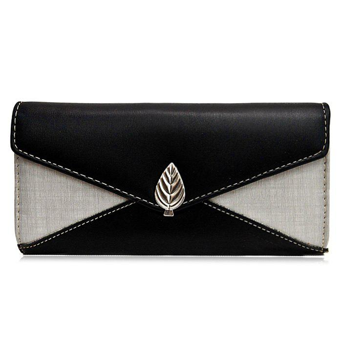 Metal Leaf Color Block Wallet With Chain - BLACK