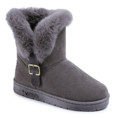 Slip On Buckled Faux Fur Suede Snow Boots - GRAY 37