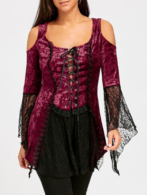 b7d19674217 41% OFF] 2019 Lace Up Bell Sleeve Velvet Gothic Top In WINE RED ...