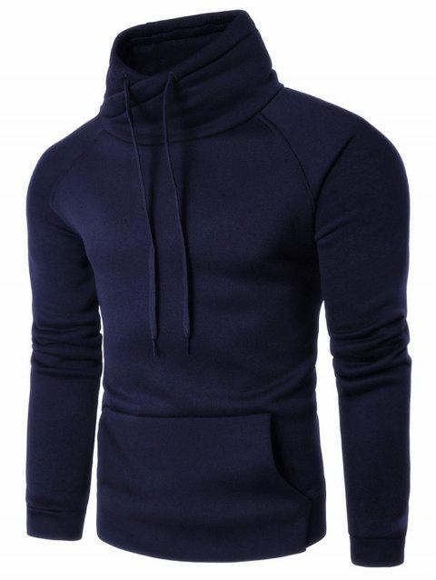 Kangaroo Pocket Raglan Sleeve Heaped Collar Hoodie - PURPLISH BLUE M