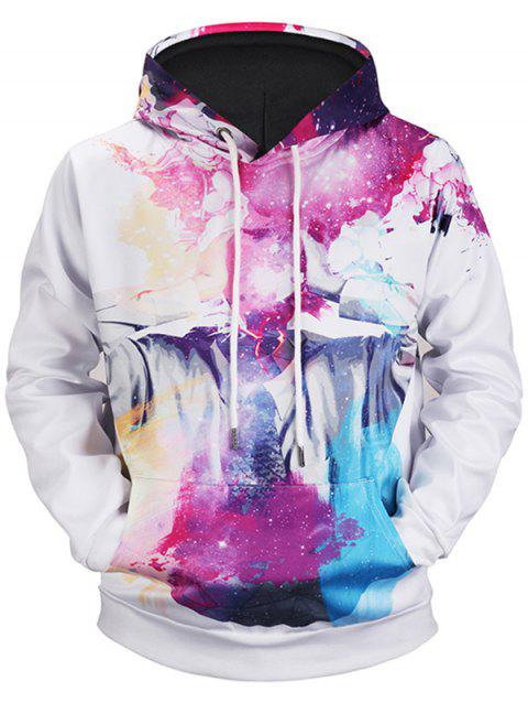 Kangaroo Pocket Colormix Abstract Print Hoodie - WHITE L