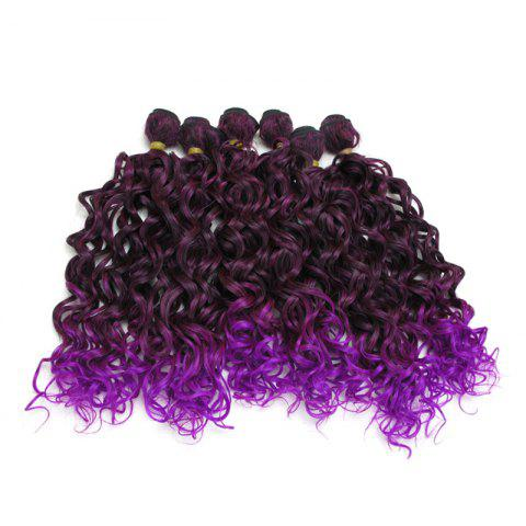 Medium Ombre Fluffy Wavy 6Pcs Synthetic Hair Weaves - PURPLE