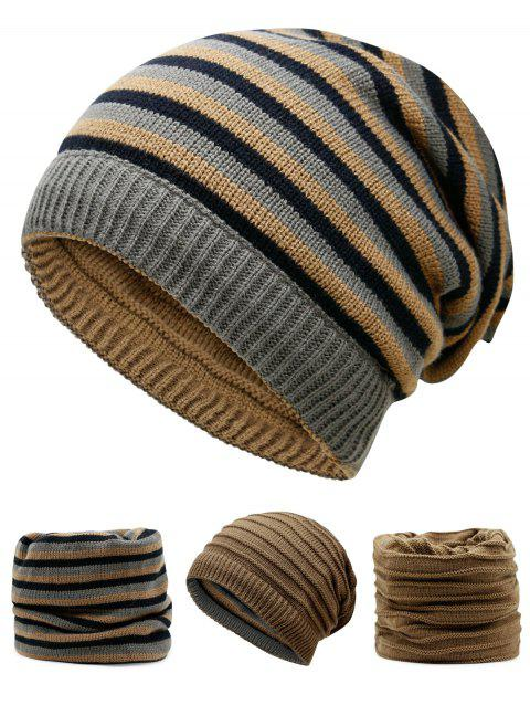Open Top Decorated Reversible Crochet Knitted Beanie - KHAKI