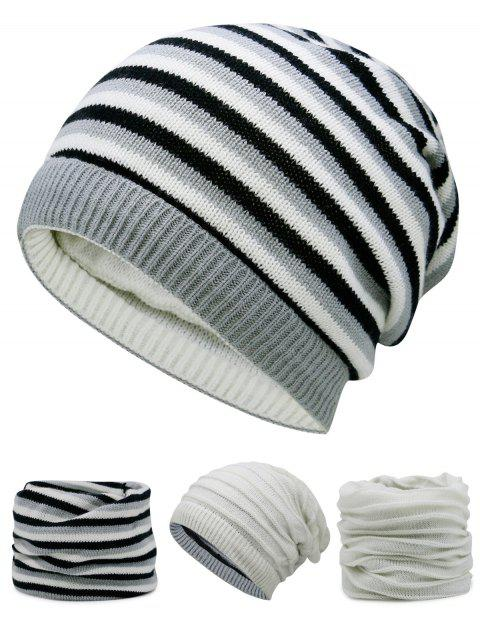 Open Top Decorated Reversible Crochet Knitted Beanie - OFF WHITE