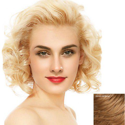 Short Free Part Fluffy Curly Lace Front Human Hair Wig - DARK ASH BLONDE